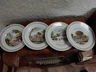 lot of 4 Currier Ives Collector Plates   Snowstorm  Autumn in New England  Summer in the Country  Season of Blossoms
