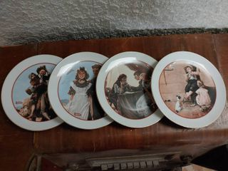 lot of 4 Norman Rockwell   Young love Series   6 5  Diameter