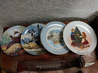lot of 4 Various Collector Plates   Royal Grafton  Pheasants in Flight  Donald Pentz   The landing  Clear Plate  Boy Bullfighting  Avon Christmas Years 1977 to 1982