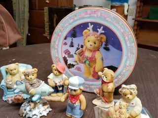 Cherished Teddy Tin   6 Statues   Engineer  Ice Skater  Handyman  Bear With Presents  Pilot  and Mother