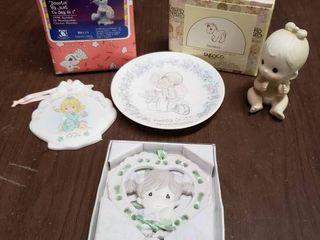 lot of Precious Moments Ornaments   Baby Clown  50th Anniversary  Donkey  Girl  1994 Tree