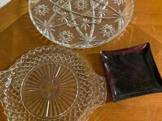 lot of 3 Crystal Relish Trays   6  to 10  D
