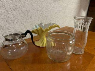lot of 4 Home Decor Items   Glass Vase  9  x 4  Yellow Dish  8 5  x 7  T  Candy Jar  5  x 5 5  T  Coffee Pot  5 5  Tall