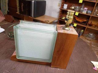 Glass Block lamp   11 5  x 9  T