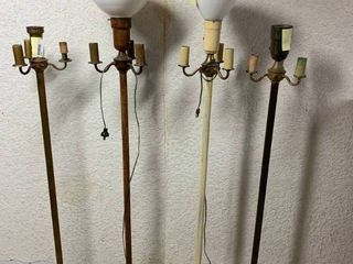 lot of 4 Standing Floor lamps   56  to 60  T   Some Work  Others Missing Cord Plug