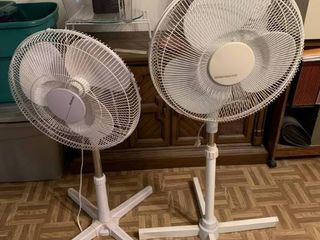 lot of 2 White Windemere Standing Fans   46  Tall   Works