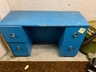 Blue Desk With 4 Drawers   46  x 30  T