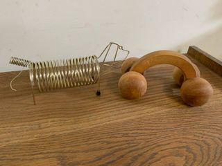 Metal Mail Dog Caddie   Wooden Massage Roller