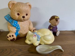 lot of Ceramic Items   Cat  Sally  Teddy Bear Cookie Jar  Spoon Holder