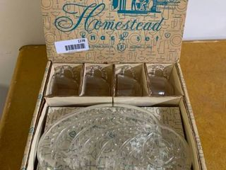 lot of Homestead Crystal   4 Glass Plates and 4 Cups