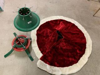 lot of 3 Holiday Tree Stands   Red Skirt