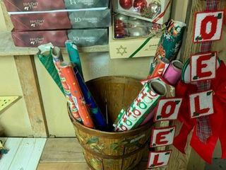 large lot of Christmas Decor Items   Includes 9 Assorted Rolls of Wrapping Paper   Some Used