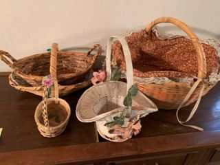 lot of 4 Baskets Various Sizes