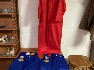 lot of 3 Clothing Items   Red Jumpsuit and 2 Blue NCHA Retiree Vests