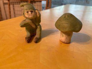 Elf  amp  Mushroom Figurine Set   2 5  Tall