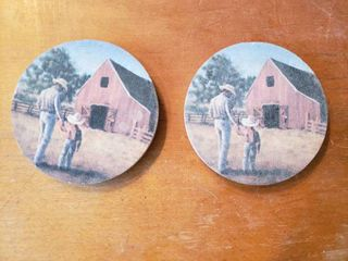 lot of 2 Thirsty Stone Cowboy Round Cup Coasters   4