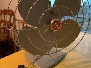 Vintage Silver GE Fan   15  x 16  T   Works
