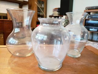 lot of 3 Glass Decor Items   Clear Glass Vase   4  x 7 5