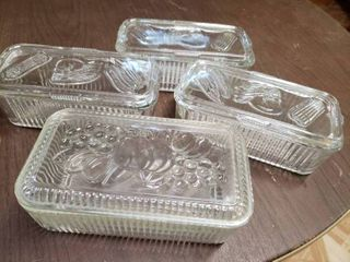 lot of 4 Clear Rectangle Fruit Refrigerator Glass Containers With lids   9  x 3  T   Some Chips