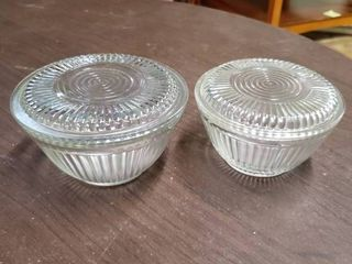 lot of 2 Clear Bowl Refrigerator Glass Containers With lids   15  x 3  T