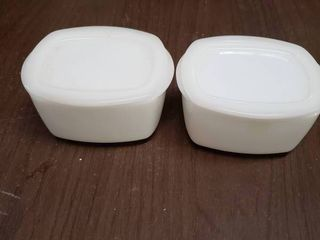 lot of 2 White Refrigerator Glass Containers With lids   3 5  x 2 5  T