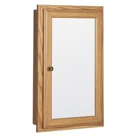 Style Selections 25 75 in H x 15 75 in W Oak Particleboard Recessed Medicine Cabinet