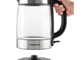 Farberware Royal Glass and Stainless Steel 1 7 liter Electric Tea Kettle  Cordless