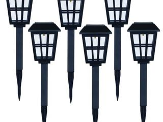 Mainstays Solar Path Light Set in Square Design, Black (6 Pack)