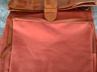 OrangeTag Canvas Bagpack School Shoulder Bag Red And Brown