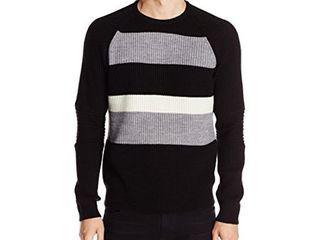 Kenneth Cole Men s Stripe Crew Neck Sweater  Black  Medium