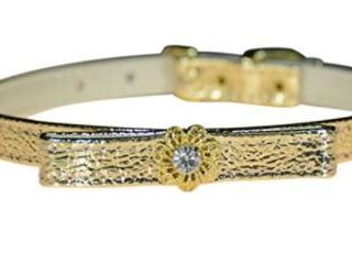 Evans Collars 3 8  Jeweled And Filigree Collar With Bow  Size 12  Vinyl  Gold