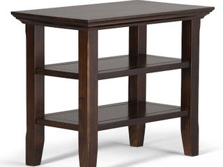 Simpli Home Acadian Solid Wood Narrow End Table with Storage in Brunette Brown