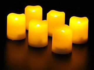 Frostfire Mooncandles   12 Indoor and Outdoor Votive Candles with Timer