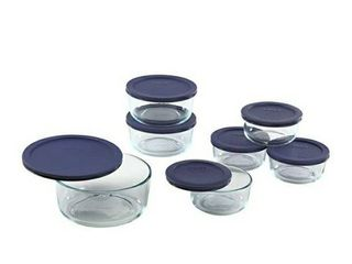 Pyrex 14 Piece Simply Store with Blue Covers  Clear