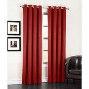 Easy Care Fabric Grommeted Panels  40 x 84 Inch  Red  2 Pack   light Filtering  Noise Reducing  Energy Efficient  Easy to Hang Curtains