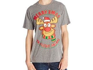 Body Rags Men s Filthy Reindeer Ugly Christmas T Shirt  Heather Grey  large
