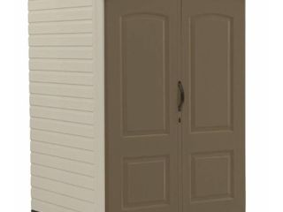 Rubbermaid 4 ft  4 in  W x 6 ft  5 in  H x 4 ft  7 in  D Medium Vertical Resin Shed  Beige   Cream