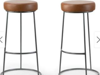 Amie Brown Faux leather Upholstered Bar Stool Red Brown Set Of 2