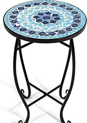 Small Beautiful Mosaic Blue and White Table