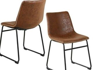 PU Brown Dining Chairs Set of 2