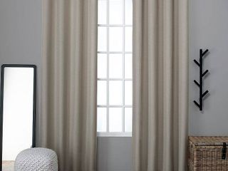 Set of 2  84 x52  loha linen Grommet Top light Filtering Curtain Panel Natural   Exclusive Home
