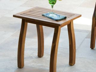 lucca Outdoor Acacia Wood Side Table by Christopher Knight Home NATURAl