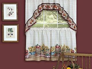 Achim Kitchen Curtain and Swag Set  Farmer s Market