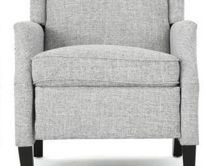Wescott Contemporary Fabric Recliner by Christopher Knight Home   light Gray Tweed   Dark Brown