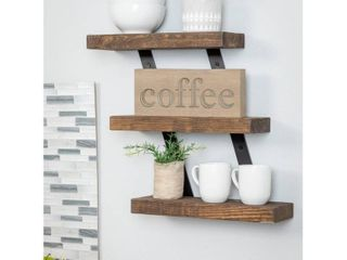 Del Hutson Designs Industrial Grace Three Tier Floating Shelves   Dark Walnut