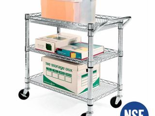 Seville Classics 3 Shelf UltraZinc Heavy Duty Commercial Utility Cart