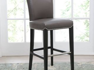 Abbyson Century 30 inch Grey leather Bar Stool