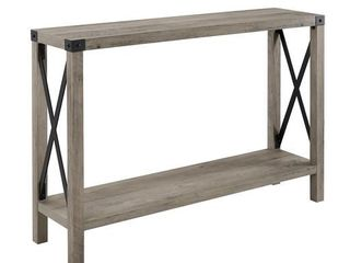 46 inch Metal X Entry Table in White Oak