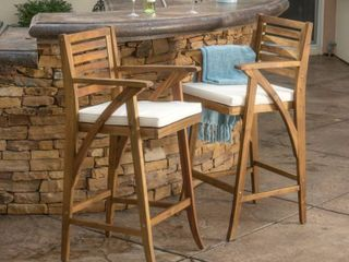 Hermosa Outdoor Acacia Wood Barstool with Cushion by Christopher Knight Home   Brown Cream