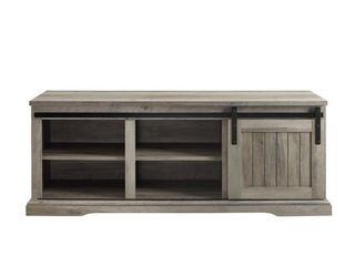 48  Sliding Grooved Door Entry Bench   Grey Wash